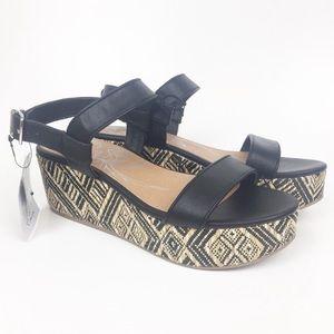 "Shoes - dv Heels Shoe 8 1/2 Black 3"" Tribal Wedge boho"